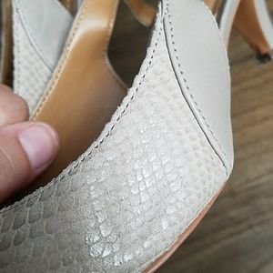 a652f355ca0 Clarks Shoes - Clarks Gray Ursa Snake-Embossed Slingback Pump 7